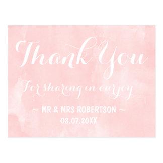 Modern blush pink watercolor thank you postcard