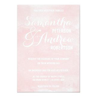 Modern blush pink watercolor Wedding 13 Cm X 18 Cm Invitation Card