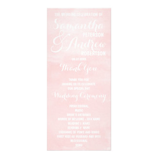 Modern blush pink watercolor Wedding Program Rack Card