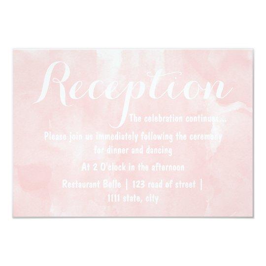 Modern blush pink watercolor wedding reception card