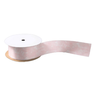 Modern blush pink watercolor wedding satin ribbon