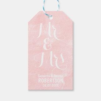 Modern blush pink watercolor wedding Thank you Gift Tags