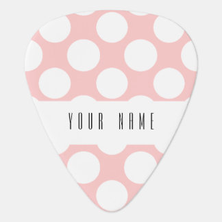 Modern Blush Pink White Polka Dots Pattern Guitar Pick