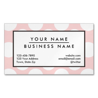 Modern Blush Pink White Polka Dots Pattern Magnetic Business Cards