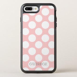 Modern Blush Pink White Polka Dots Pattern OtterBox Symmetry iPhone 8 Plus/7 Plus Case