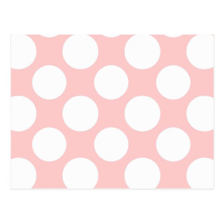 Modern Blush Pink White Polka Dots Pattern Postcard