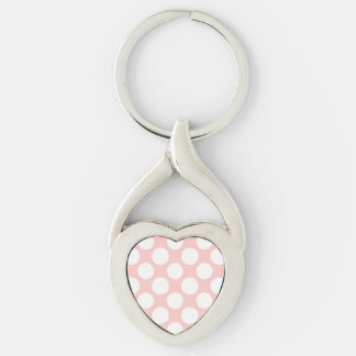 Modern Blush Pink White Polka Dots Pattern Silver-Colored Twisted Heart Key Ring