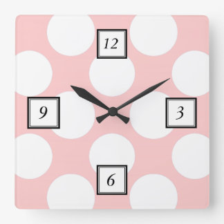 Modern Blush Pink White Polka Dots Pattern Square Wall Clock