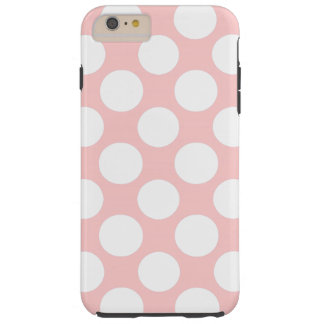 Modern Blush Pink White Polka Dots Pattern Tough iPhone 6 Plus Case