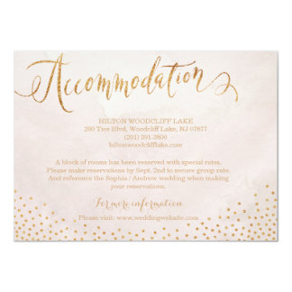 Modern blush rose gold calligraphy accommodation card