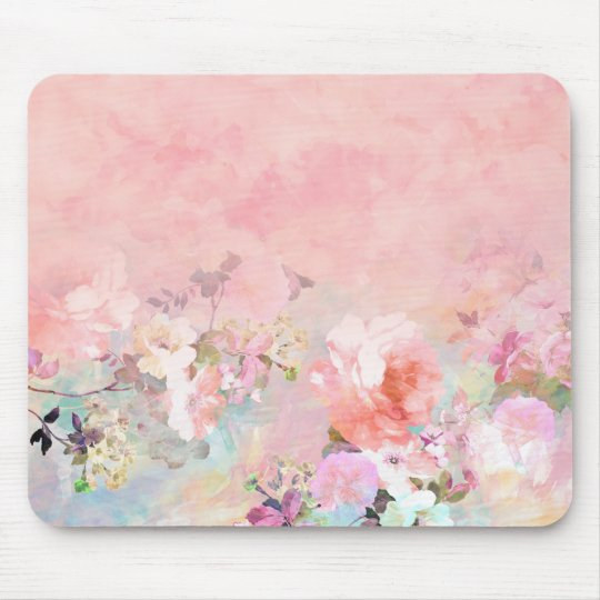 Modern blush watercolor ombre floral watercolor mouse mat