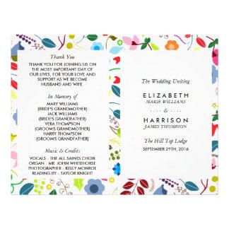 Modern Boho Chic Floral Wedding Program 21.5 Cm X 28 Cm Flyer