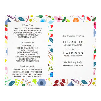Modern Boho Chic Floral Wedding Program Flyer