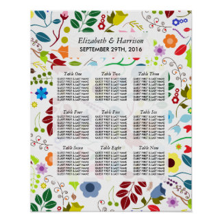 Modern Boho Chic Floral Wedding Seating Chart Poster