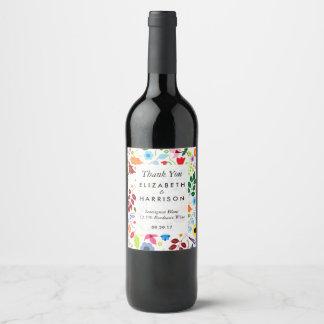 Modern Boho Chic Floral Wedding Wine Label