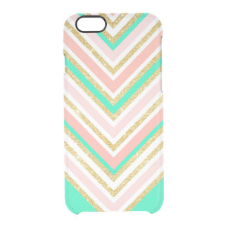 Modern boho pink gold turquoise chevron pattern clear iPhone 6/6S case