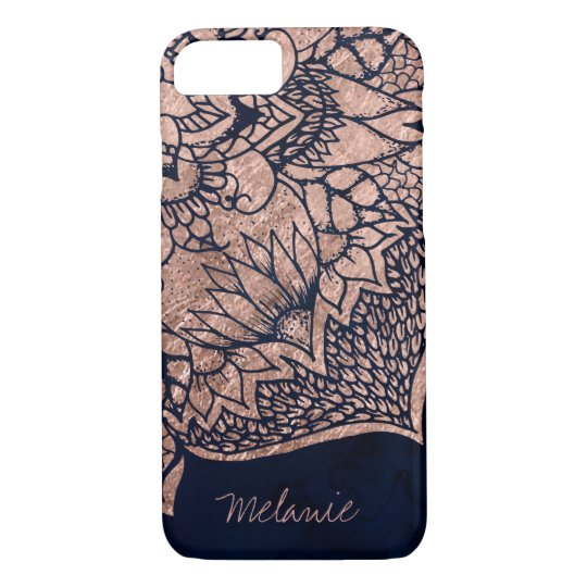 Modern boho rose gold floral mandala watercolor iPhone
