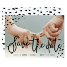 Modern boho save the date photo polka dots card