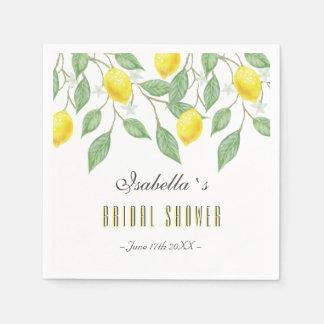 Modern Boho Watercolor Lemon Summer Bridal Shower Disposable Napkin