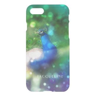 Modern Bokeh Sparkle Peacock Photo Twinkling Light iPhone 7 Case