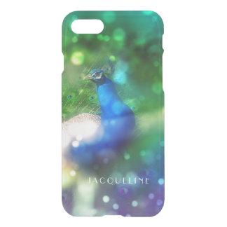 Modern Bokeh Sparkle Peacock Photo Twinkling Light iPhone 7 Case