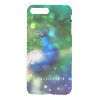 Modern Bokeh Sparkle Peacock Photo Twinkling Light iPhone 7 Plus Case