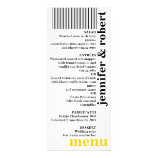 Modern bold b/w yellow minimal wedding menu