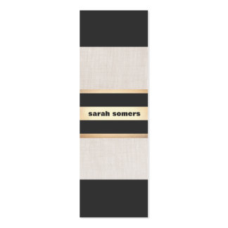 Modern Bold Black, Linen and Gold Striped Stylish Pack Of Skinny Business Cards
