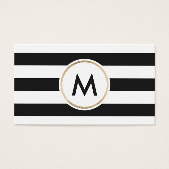 Modern bold black stripes chic white gold monogram