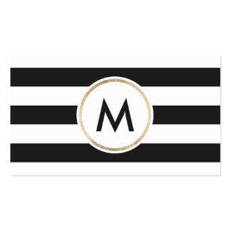 Modern bold black stripes chic white gold monogram pack of standard business cards