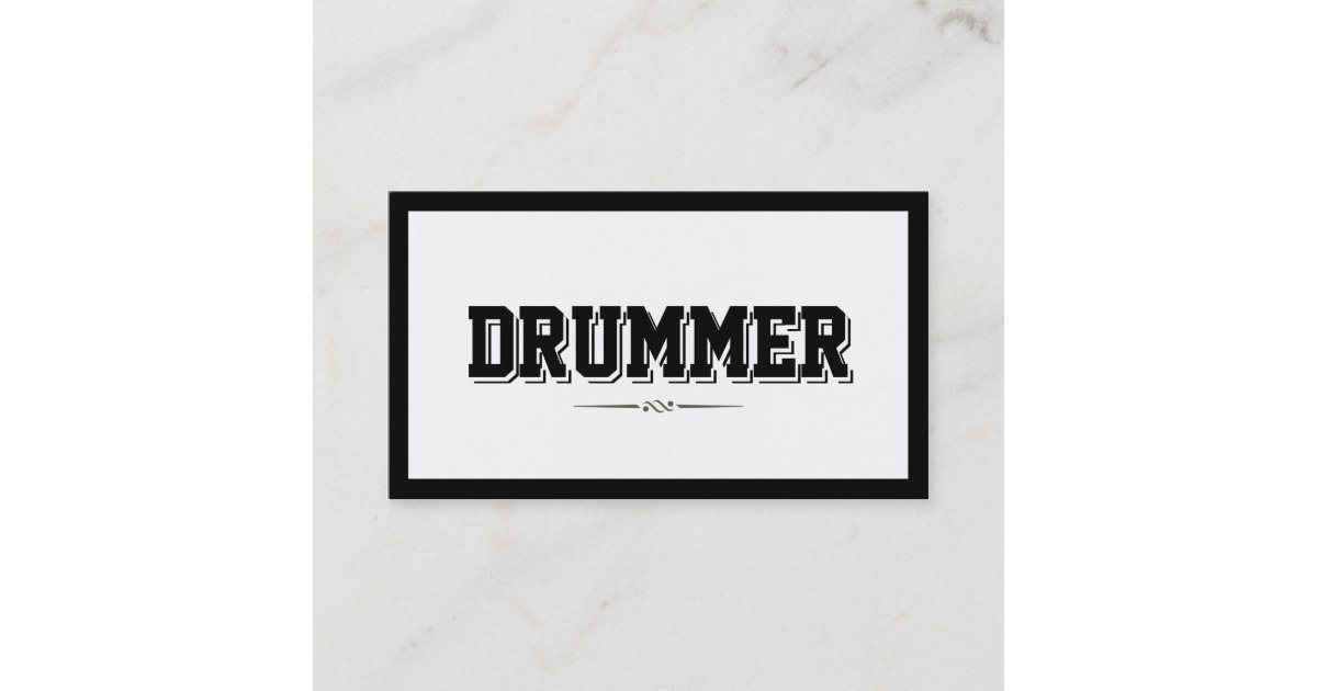 Modern Bold Border Drummer Business Card | Zazzle.co.uk