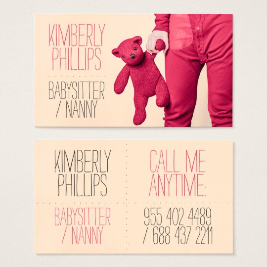 Modern bold coral babysitter nanny cute photograph business