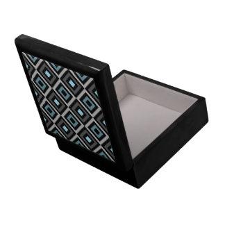 Modern Bold Diamond Pattern (Gray/Blue) Large Square Gift Box