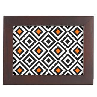 Modern Bold Diamond Pattern (Orange) Keepsake Box