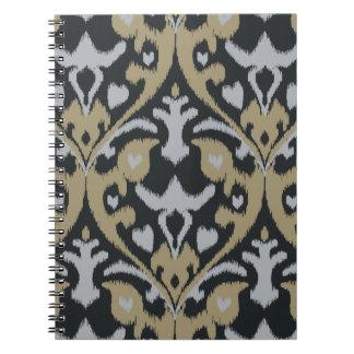 Modern bold grey beige black ikat tribal pattern notebooks