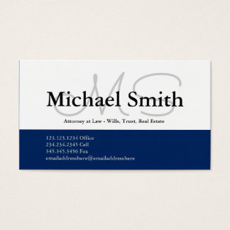 Modern Bold Navy Initials - Business Card