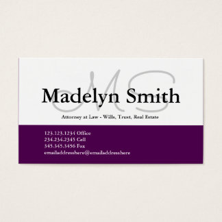 Modern Bold Plum Initials - Business Card