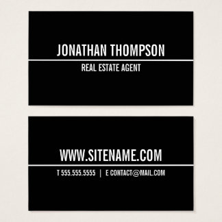 Modern Bold Text Black and White Business Card