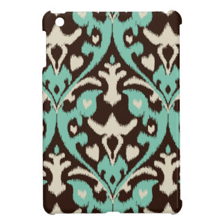 Modern bold turquoise brown ikat tribal pattern iPad mini case