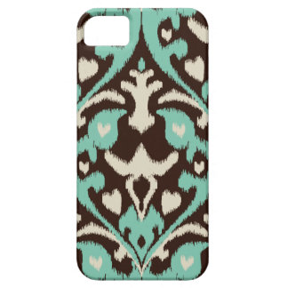 Modern bold turquoise brown ikat tribal pattern iPhone 5 case