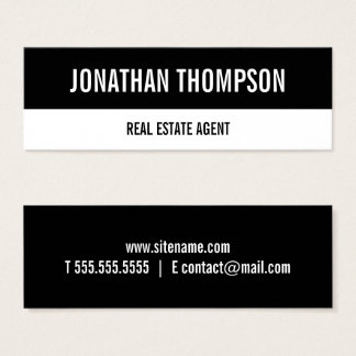 Modern Bold Type Black and White Mini Business Card