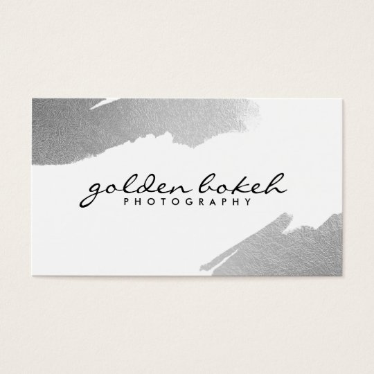 Modern bold white chic faux silver foil elegant business card