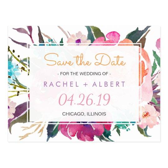 Modern Botanical Floral Wedding Save the Date Postcard