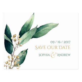 Modern botanical greenery rustic save the date postcard
