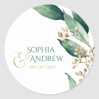 Modern botanical greenery rustic wedding monogram classic round sticker