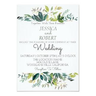 Modern Botanical Greenery Wedding Invitation