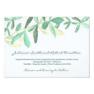 Modern Botanical Greenery Wedding Invitation