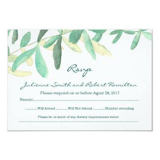 Modern Botanical Greenery Wedding RSVP Card