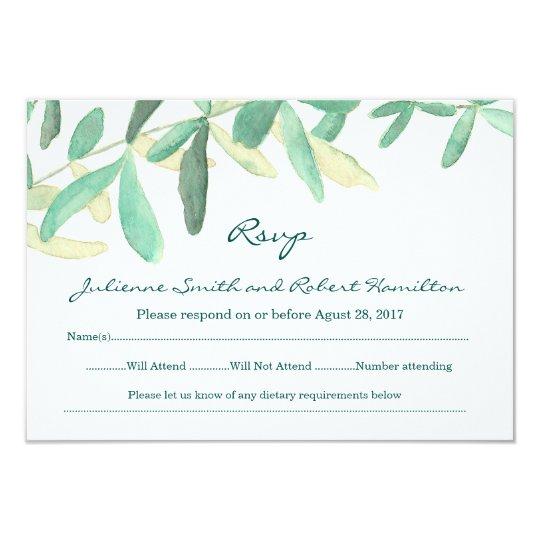 Modern Botanical Greenery Wedding RSVP Card