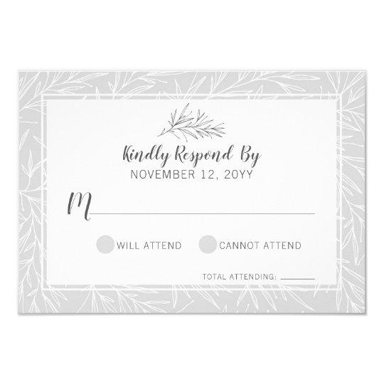 Modern Botanical Leaf Silver Wedding RSVP Card